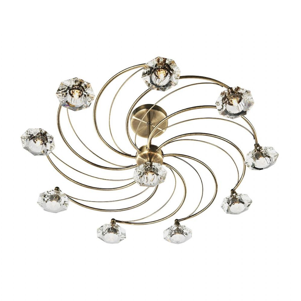 Luther 10 Light Semi Flush complete with Crystal Glass Antique Brass LUT2375